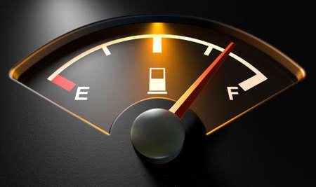 Een close-up van een backlit verlichte gas gage met de naald wijst op een bijna volle tank