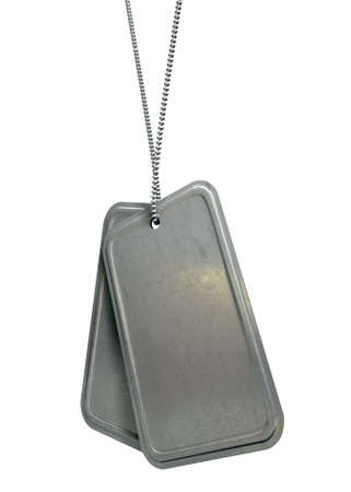 militia: A regular set of blank military dog tag identity tags attached to a chain hanging on an isolated background Stock Photo