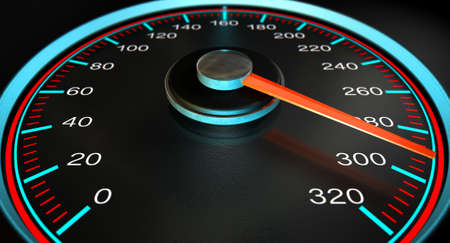 mile: A regular speedometer with glowing blue and red markings with a red needle pointing towards a high speed on an isolated black background Stock Photo