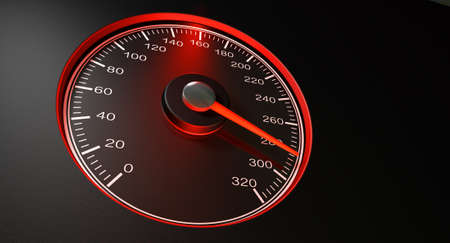 A regular speedometer with glowing red edges and a red needle pointing towards a high speed on an isolated black background Stock Photo - 29139136