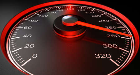 A regular speedometer with glowing red edges and a red needle pointing towards a high speed on an isolated black background photo