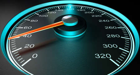 mile: A regular speedometer with glowing blue edges and a red needle pointing towards a low speed on an isolated black background