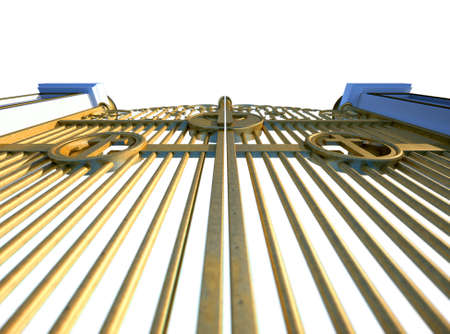 christanity: A concept image of the golden gates to heaven shut on an isolated white background