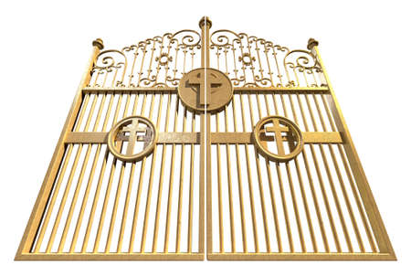 pearly: A concept image of the golden gates to heaven shut on an isolated white background