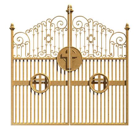 分離の白い背景の上シャット ダウン天国にゴールデン ゲートのコンセプト イメージ