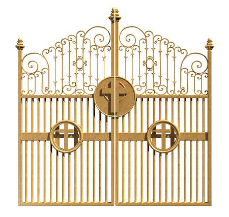 A concept image of the golden gates to heaven shut on an isolated white background photo