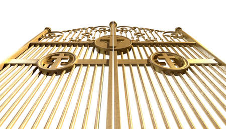kingdom of heaven: A concept image of the golden gates to heaven shut on an isolated white background