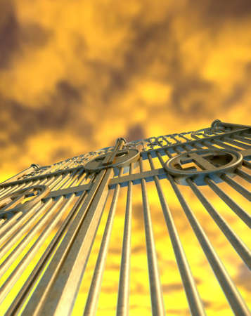 pearly: A concept image of the golden gates to heaven shut on a dramatic golden yellow cloud background Stock Photo