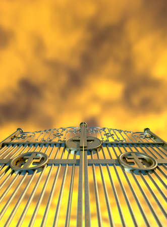 pearly gates: A concept image of the golden gates to heaven shut on a dramatic golden yellow cloud background Stock Photo