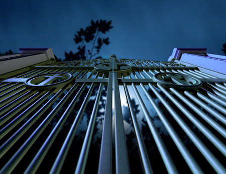 hereafter: The  concept image showing religious cemetery gates at night on a moonlit eerie background with trees Stock Photo