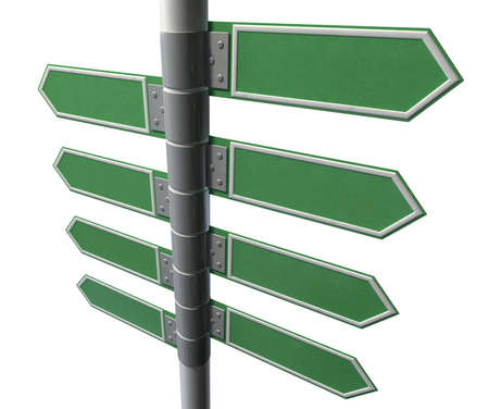 street shots: A collection of generic blank directional street signs eith facing left or right on a pole on an isolated white background