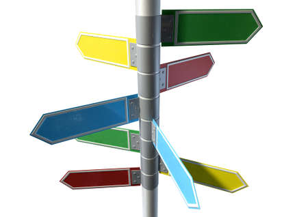 metal pole: A collection of generic blank directional street signs all facing different directions on a pole on an isolated white background Stock Photo