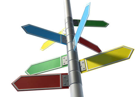 A collection of generic blank directional street signs all facing different directions on a pole on an isolated white background photo