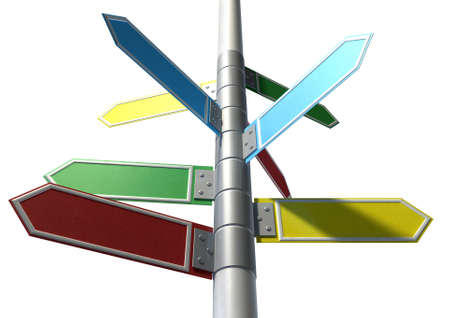street shots: A collection of generic blank directional street signs all facing different directions on a pole on an isolated white background Stock Photo