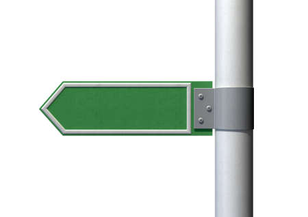 A generic blank directional street sign on a pole on an isolated white background photo