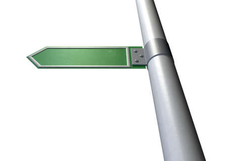 A generic blank directional street sign on a pole on an isolated white background
