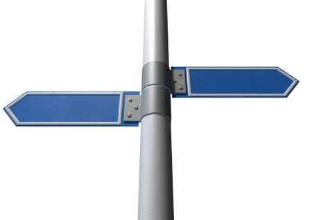 Two generic blank directional street signs on a pole facing in opposite directions photo