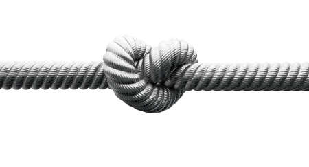 A coarse metal cable with a knot tied in the middle on an isolated background photo
