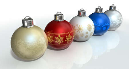 burnished: A line of five assorted colored christmas baubles decorated with fine ornate snowflake patterns on an isolated white background