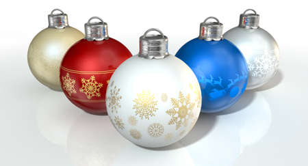 burnished: A collection of five assorted colored christmas baubles decorated with fine ornate snowflake patterns on an isolated white background