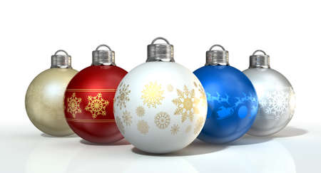 A collection of five assorted colored christmas baubles decorated with fine ornate snowflake patterns on an isolated white background photo