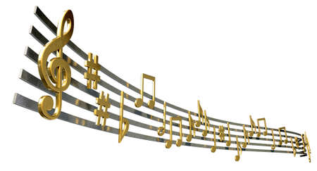 treble: A concept showing literal gold metallic music symbols and notes on the five wavy octave lines on an isolated white background