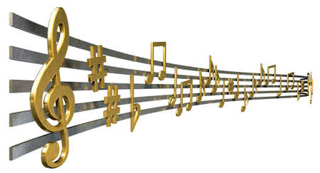 A concept showing literal gold metallic music symbols and notes on the five wavy octave lines on an isolated white background photo