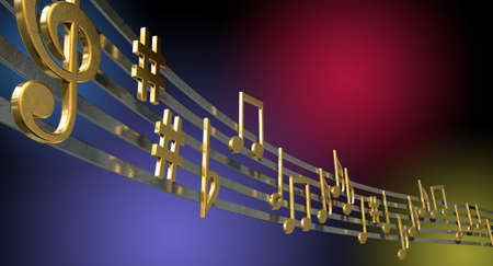 jazzy: A concept showing literal gold metallic music symbols and notes on the five wavy octave lines on a jazzy colorful background