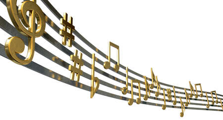 octave: A concept showing literal gold metallic music symbols and notes on the five wavy octave lines on an isolated white background