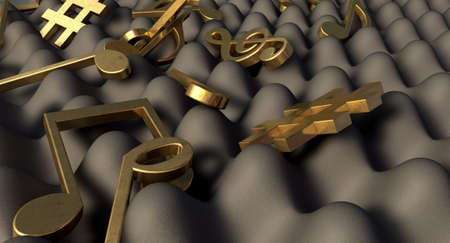 settled: A concept showing a closeup of a section of grey sound foam with gold music symbols and notes laying scattered ontop of it Stock Photo