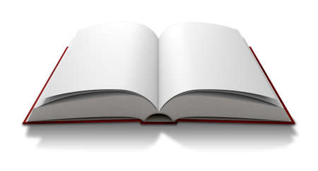 hard cover: A regular hard cover book open in the middle with blank white pages on an isolated white background