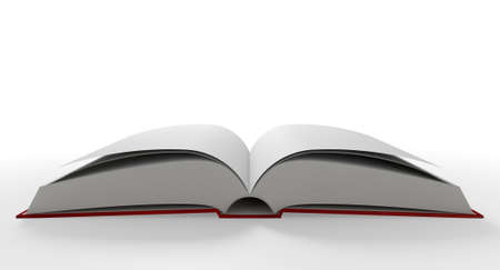 pocketbook: A regular hard cover book open in the middle with blank white pages on an isolated white background