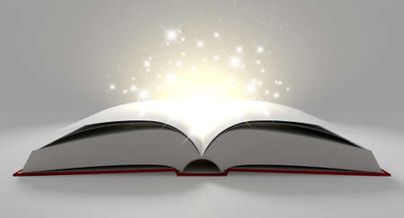 paper spell: A regular hard cover book open in the middle with blank white pages that are lit by a yellow glow and magical sparkles on an isolated white background