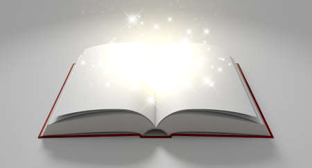 emanating: A regular hard cover book open in the middle with blank white pages that are lit by a yellow glow and magical sparkles on an isolated white background