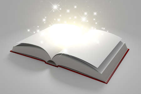 A regular hard cover book open in the middle with blank white pages that are lit by a yellow glow and magical sparkles on an isolated white background