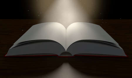 dramatic: A regular hard cover book open in the middle with blank white pages on a dramatic dark background lit by an ethereal spotlight