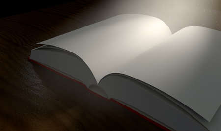 hard cover: A regular hard cover book open in the middle with blank white pages on a dramatic dark background lit by an ethereal spotlight