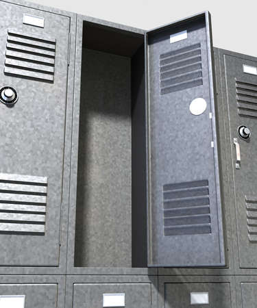 A perspective view of a stack of grey metal school lockers with combination locks and one with an open door on an isolated background