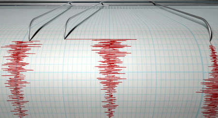 quake: A closeup of a seismograph machine needle drawing a red line on graph paper depicting seismic and eartquake activity on an isolated white background Stock Photo