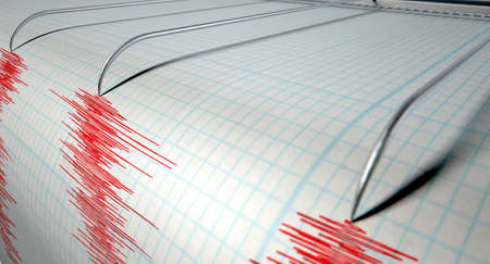 A closeup of a seismograph machine needle drawing a red line on graph paper depicting seismic and eartquake activity on an isolated white background Stock Photo