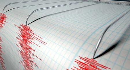 metro medir: Un primer plano de una máquina de la aguja del sismógrafo trazar una línea roja en el papel gráfico que representa la actividad sísmica y eartquake sobre un fondo blanco aislado