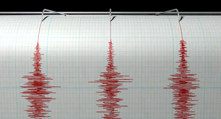 seismic: A closeup of a seismograph machine needle drawing a red line on graph paper depicting seismic and eartquake activity on an isolated white background Stock Photo