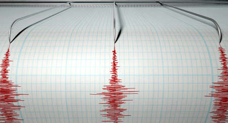 detect: A closeup of a seismograph machine needle drawing a red line on graph paper depicting seismic and eartquake activity on an isolated white background Stock Photo