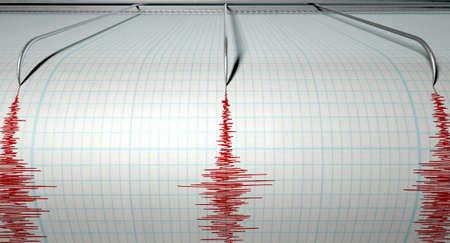 sismogr�fo: Un primer plano de una m�quina de la aguja del sism�grafo trazar una l�nea roja en el papel gr�fico que representa la actividad s�smica y eartquake sobre un fondo blanco aislado