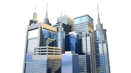 industrious: A a group of small modern looking skyscrapers depicting a successful city on an isolated white background Stock Photo