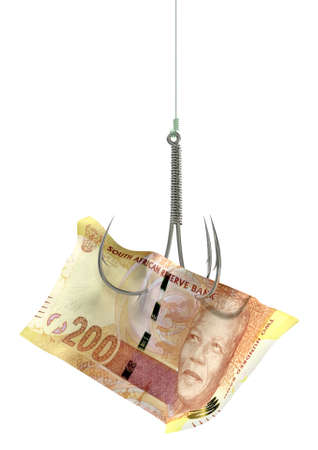 baited: A concept image showing a two hundred rand banknote used as bait attached to a treble fishhook and fishing line on an isolated white background Stock Photo