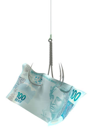 baited: A concept image showing a one hundred real banknote used as bait attached to a treble fishhook and fishing line on an isolated white background