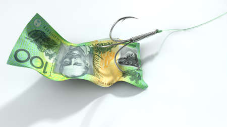 cheat: A concept image showing a one hundred australian dollar banknote used as bait attached to a treble fishhook and fishing line on an isolated white background Stock Photo