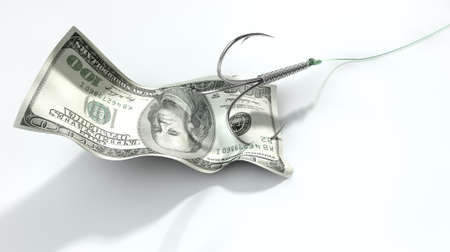 baited: A concept image showing a one hundred dollar banknote used as bait attached to a treble fishhook and fishing line on an isolated white background