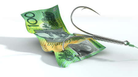 baited: A concept image showing a one hundred australian dollar banknote used as bait attached to a treble fishhook and fishing line on an isolated white background Stock Photo